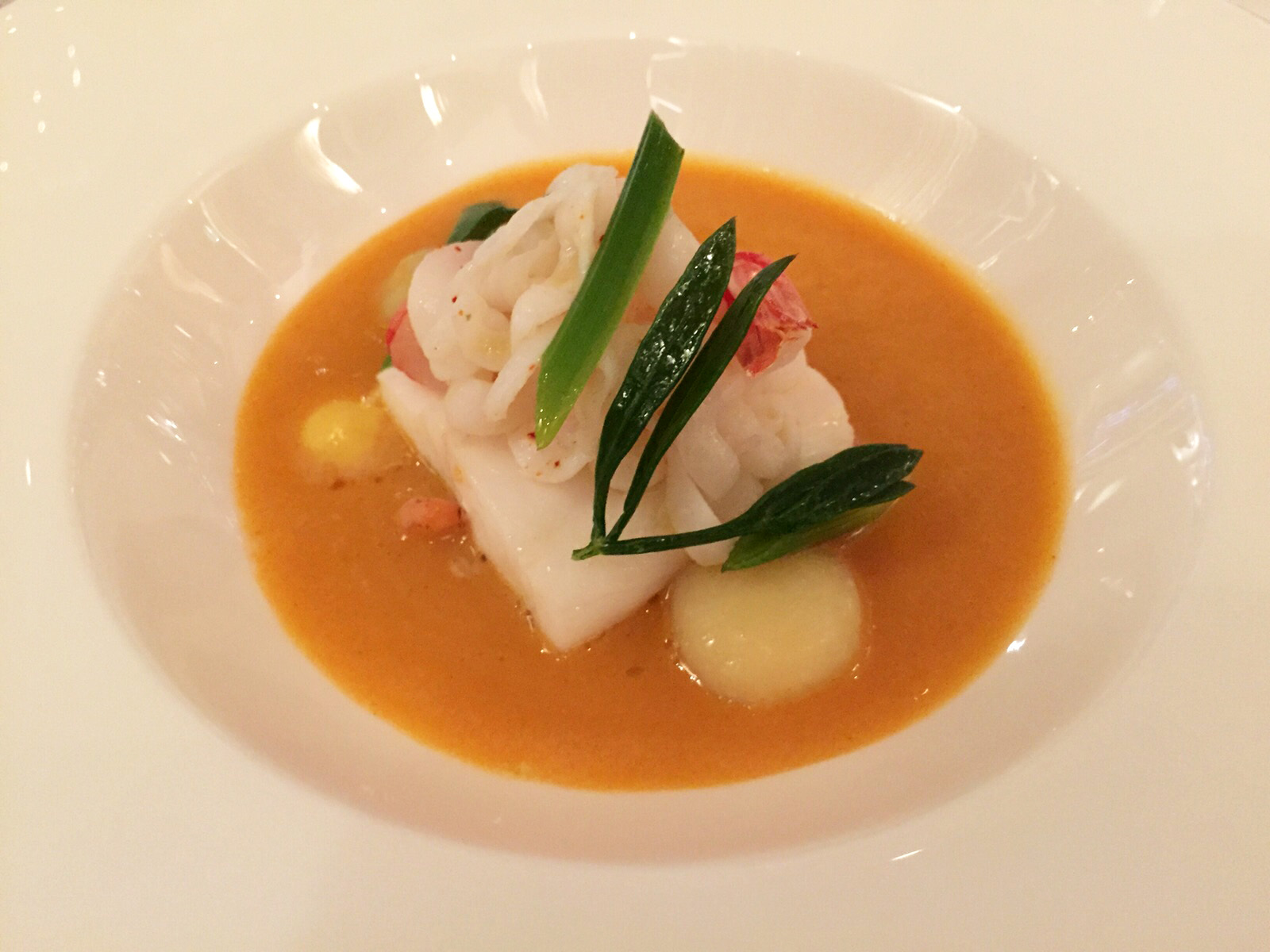 Review the dining room at the goring hotel beeston place cornish fish broth squid plaice red prawn roast garlic and saffron sxxofo